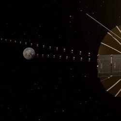 Uma ilustração do satélite do relé de Queqiao de China perto da lua. CNSA / CAS